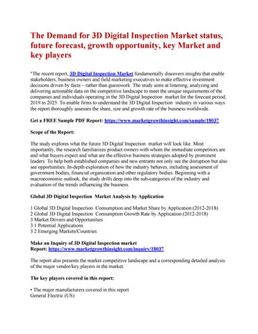The Demand for 3D Digital Inspection Market status, future forecast, growth  opportunity, key Market