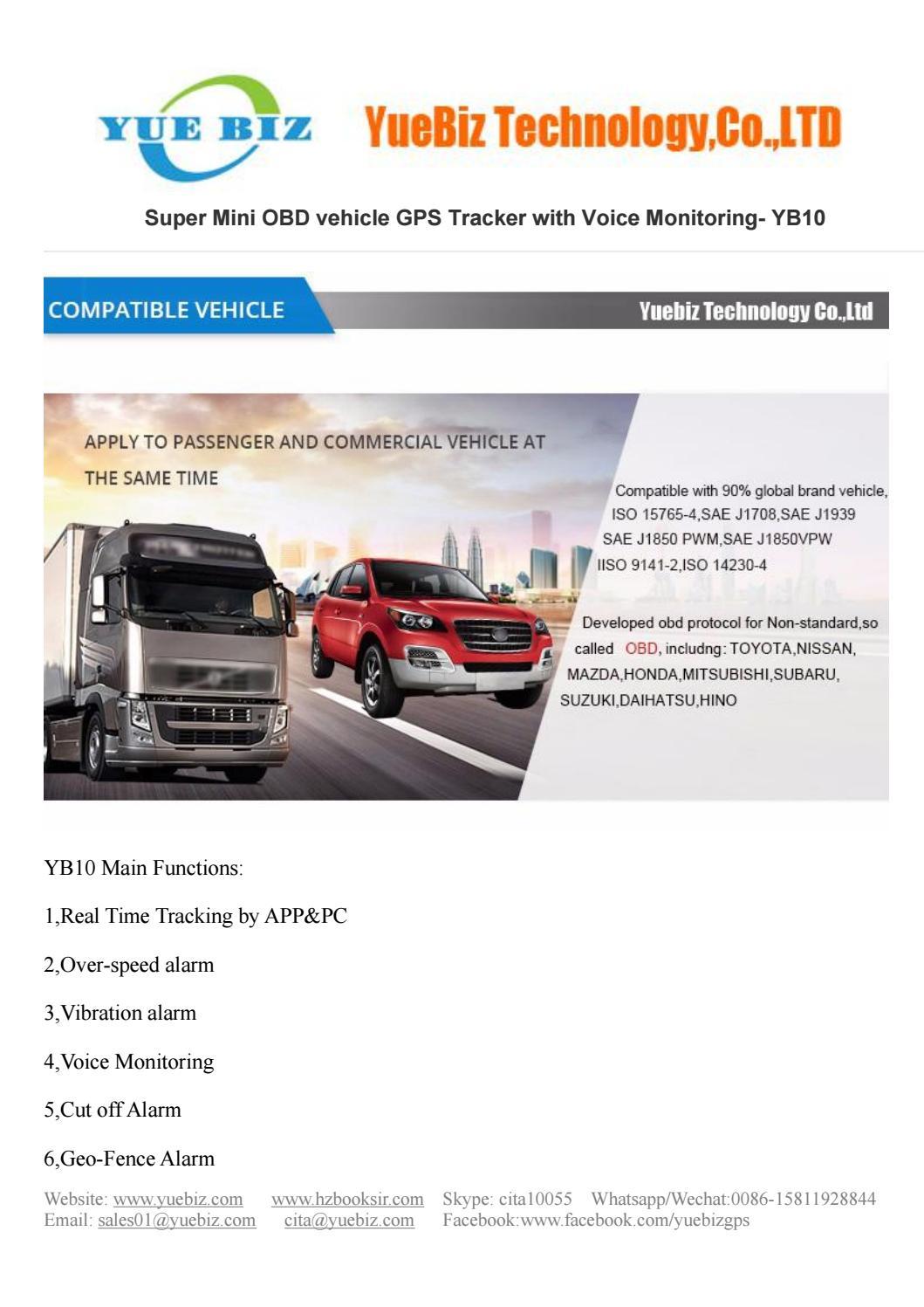 YueBiz OBD GPS Tracker YB10 Super Mini OBD vehicle GPS