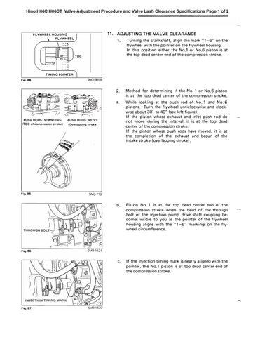 Hino H06C H06CT Valve Adjustment Procedure and Valve Lash