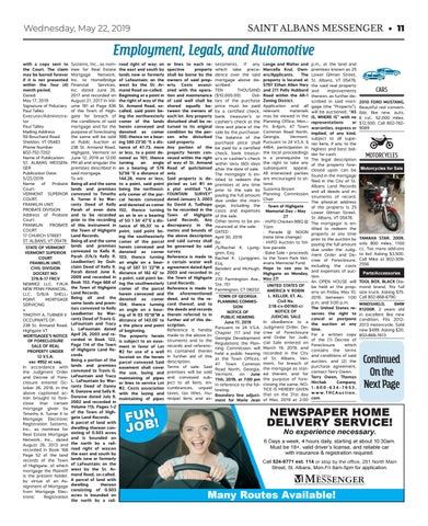 5/22/19 Classifieds by St  Albans Messenger - issuu