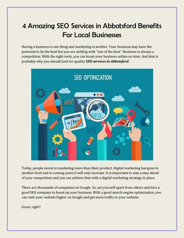 4 Amazing SEO Services in Abbotsford Benefits For Local Businesses