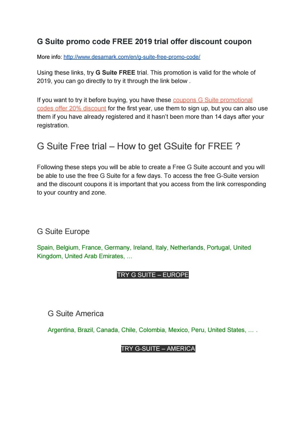 G Suite Promo Code Free 2020 Trial Offer Discount Coupon By Vicen Martinez Issuu