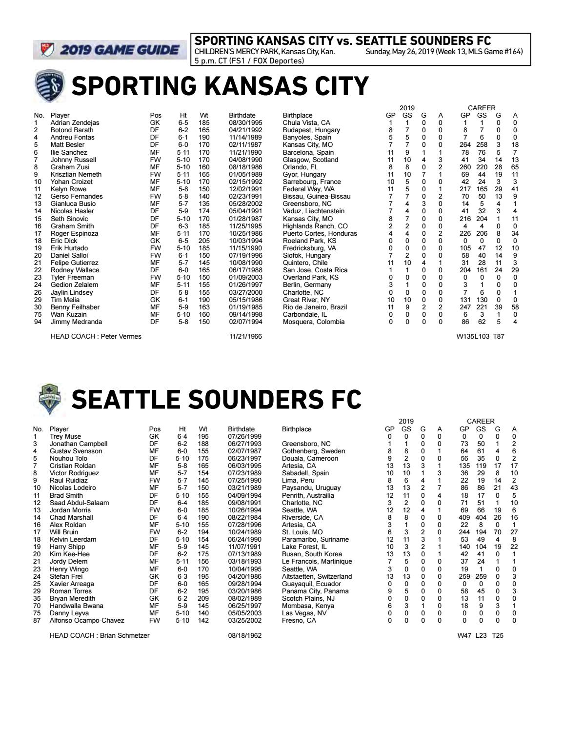 Match Notes: Sporting vs  Seattle Sounders FC | May 26, 2019