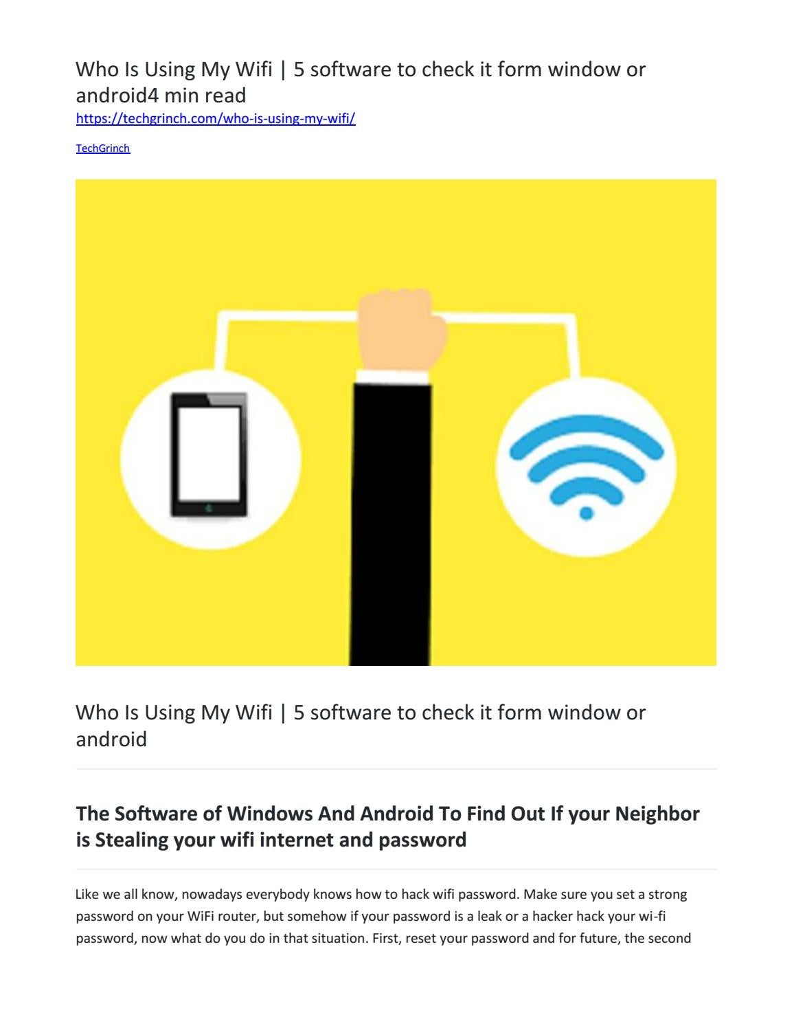 Who Is Using My Wifi | 5 software to check it form window or