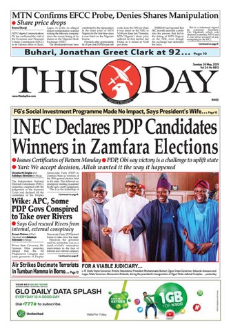 SUNDAY 26TH MAY 2019 by THISDAY Newspapers Ltd - issuu
