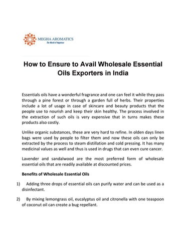 How to Ensure to Avail Wholesale Essential Oils Exporters in