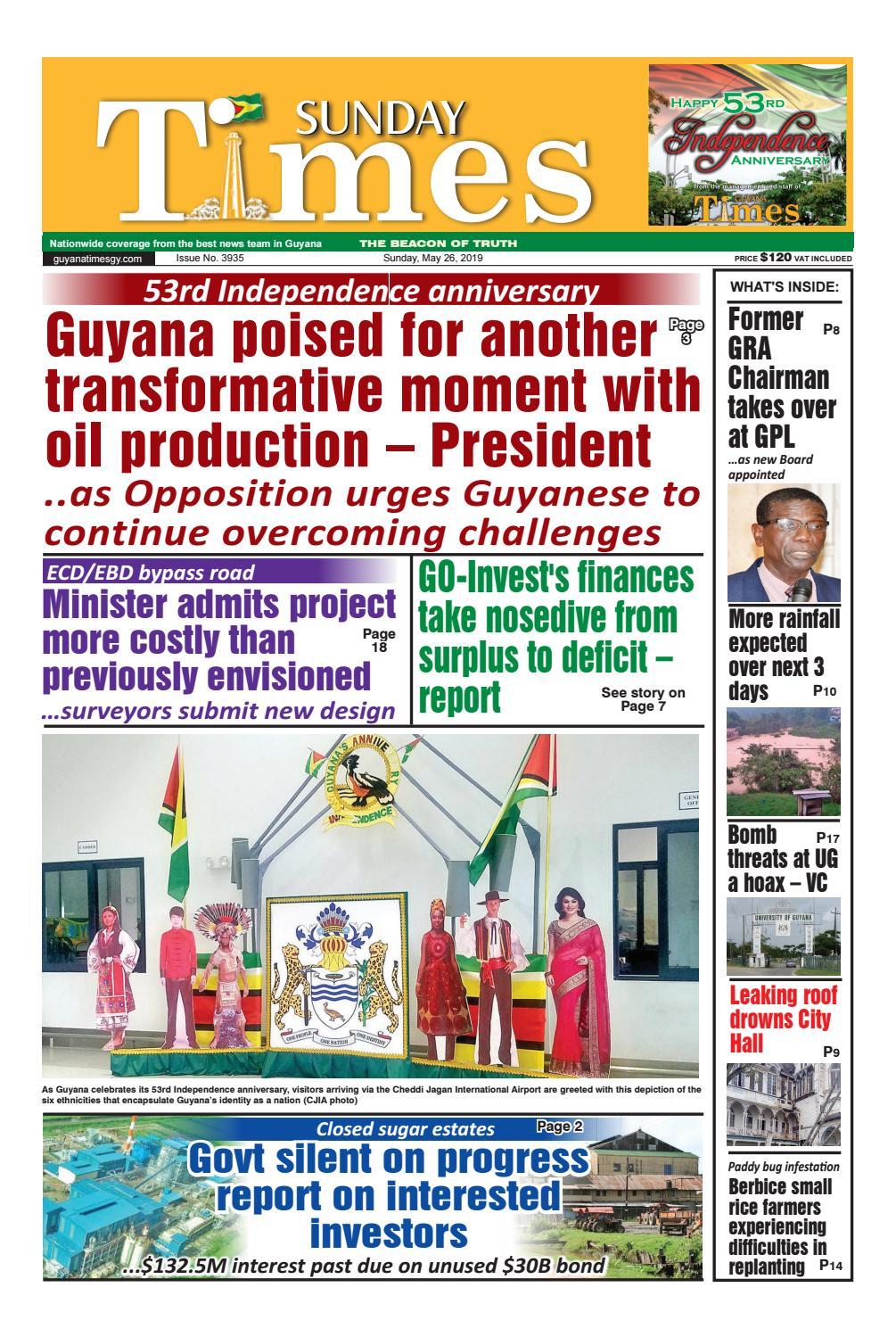 Guyana Times Sunday May 26, 2019 by Gytimes - issuu