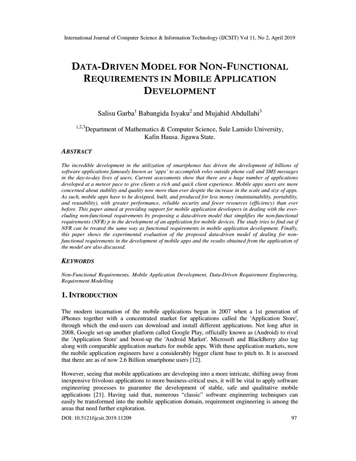 DATA-DRIVEN MODEL FOR NON-FUNCTIONAL REQUIREMENTS IN MOBILE