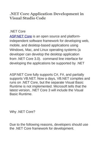 NET Core Application Development in Visual Studio Code by Shweta