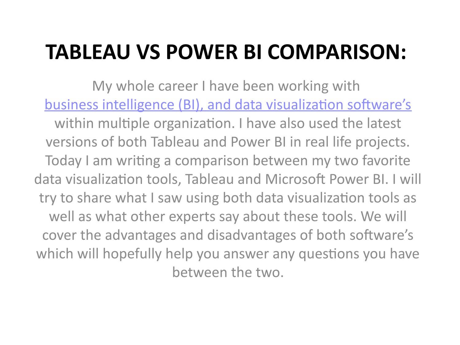 TABLEAU VS POWER BI COMPARISON: by Tableau Consulting - issuu