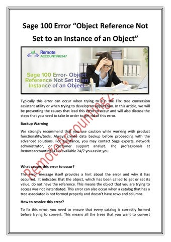 Sage 100 Error- Object Reference Not Set to an Instance of