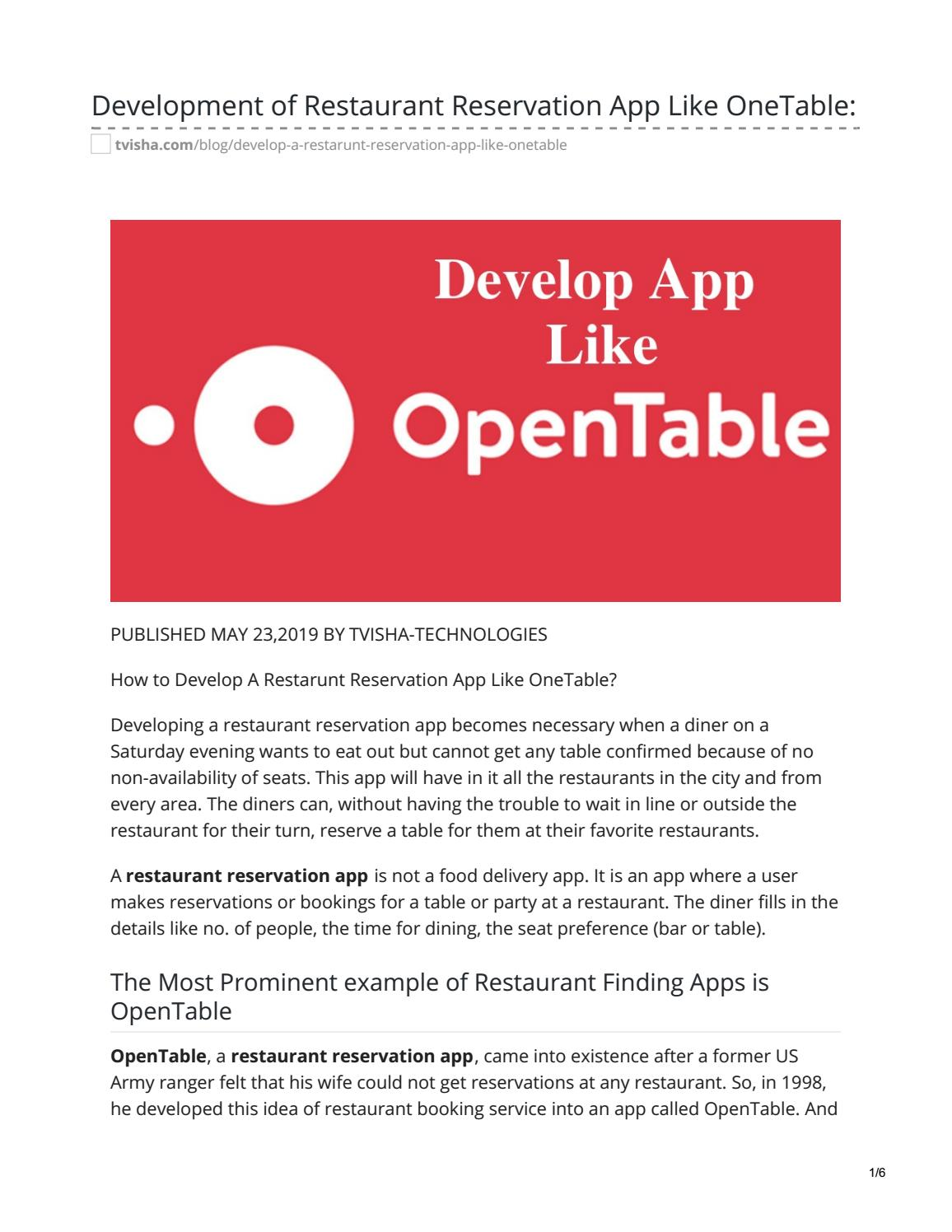 Develop App Like Onetable Restaurant Reservation App