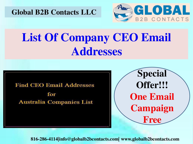 List Of Company CEO Email Addresses by Jennifer Caleb - issuu