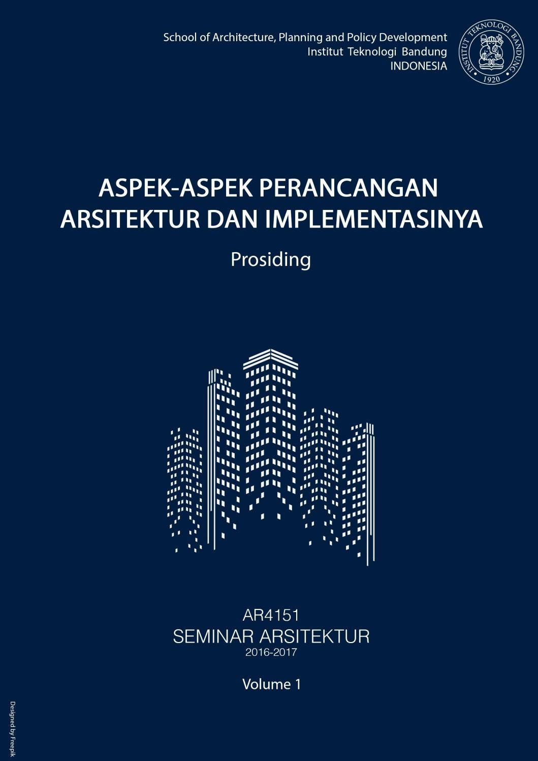 AR4151 Seminar Arsitektur Semester I 2017 2018 By Unit
