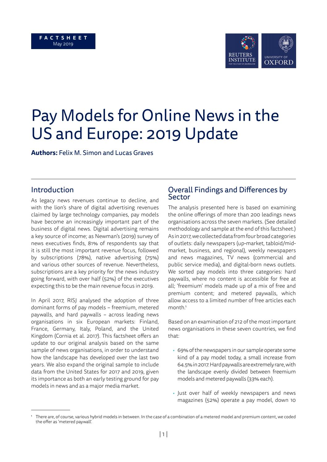 Pay Models for Online News in the US and Europe: 2019 Update