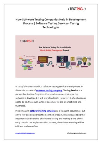 How Software Testing Service Helps in your Web & Mobile Development-Testrig  Technolgies