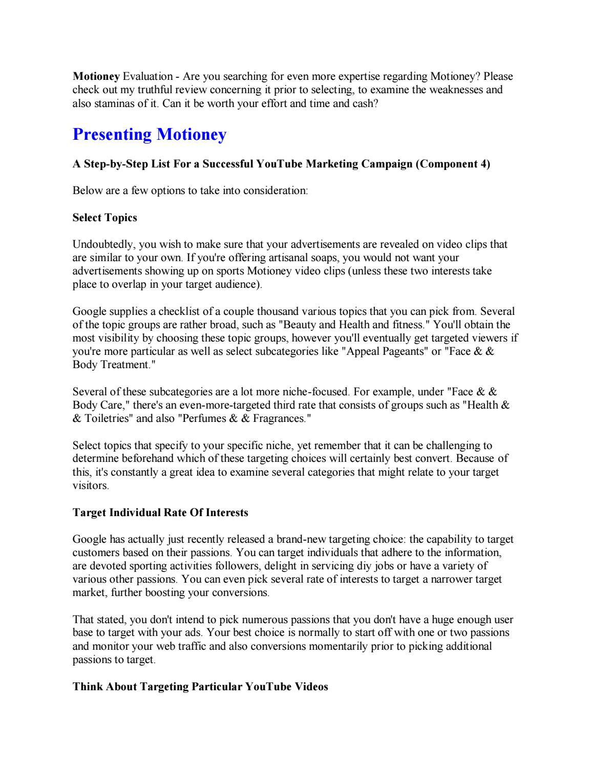 Motioney Review And Free Bonus by richardlarue - issuu