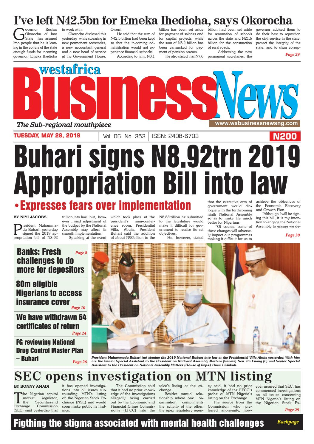 Westafrica BusinessNews Tuesday, May 28, 2019 by