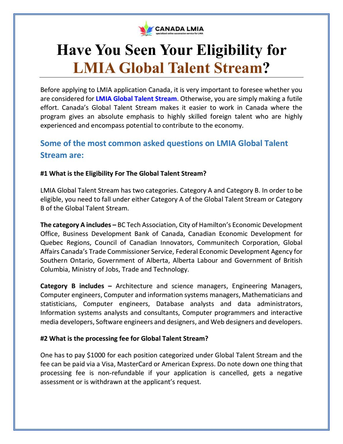 Have You Seen Your Eligibility for LMIA Global Talent Stream