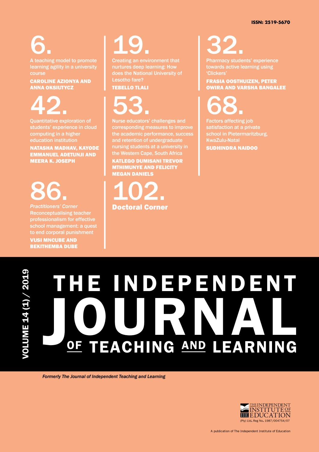 The Independent Journal of Teaching and Learning - Vol 14 (1) 2019