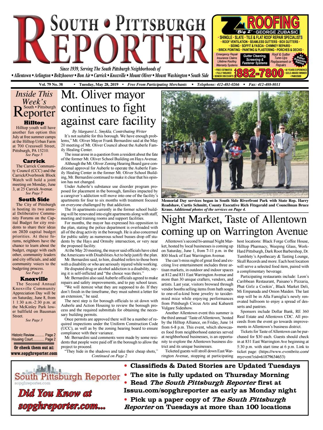 SPR 05-28-19 by South Pittsburgh Reporter - issuu