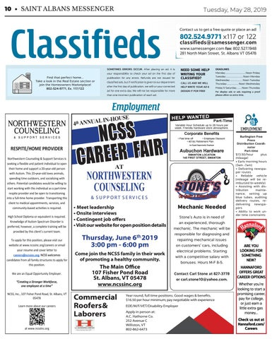 5/28/19 Classifieds by St  Albans Messenger - issuu