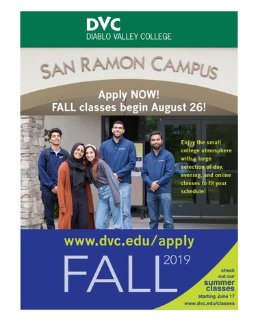 Dvc Summer 2020 Classes.Fall 2019 Class Schedule San Ramon Campus By Diablo Valley