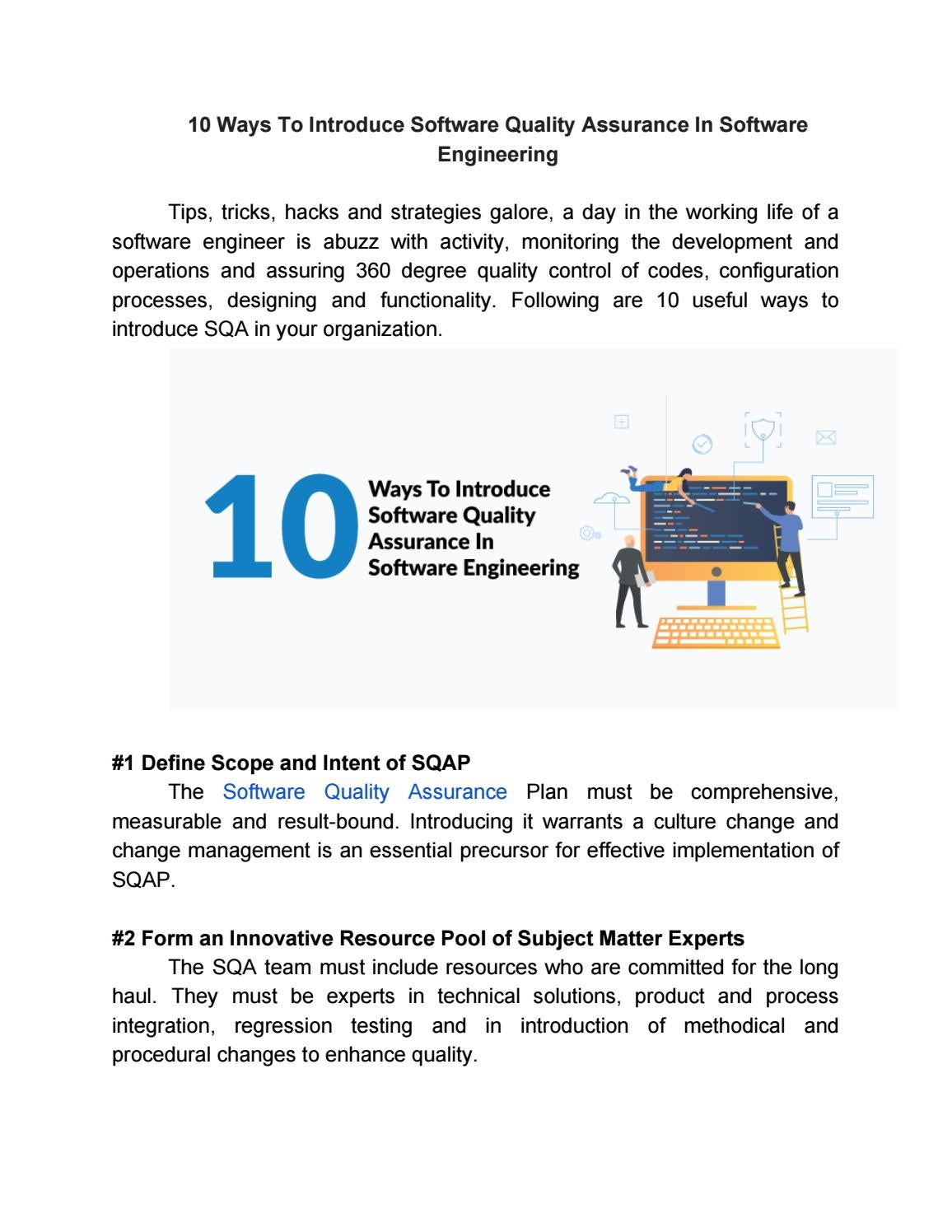 10 Ways To Introduce Software Quality Assurance In Software Engineering By Seo Zucisystems Issuu