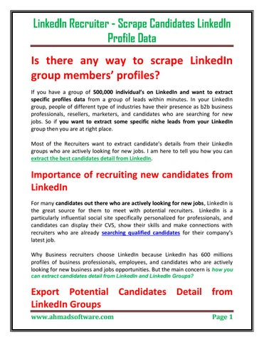 LinkedIn Recruiter - Scrape Candidates LinkedIn Profile Data