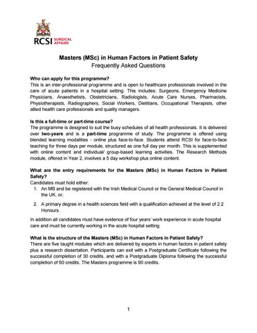 Master (MSc) in Human Factors in Patient Safety - FAQ by Surgery