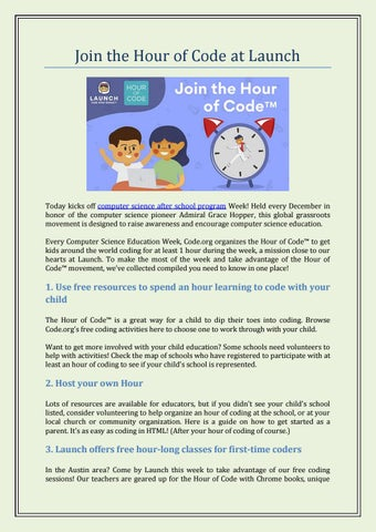 Hour Of Code | Launch Code After School by