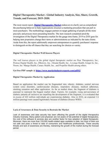 Digital Therapeutics Market - Global Industry Analysis, Size