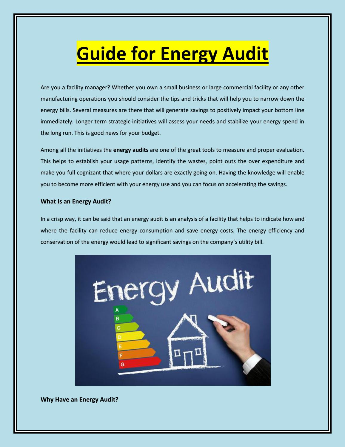 Guide For Energy Audit By John Thomas Issuu