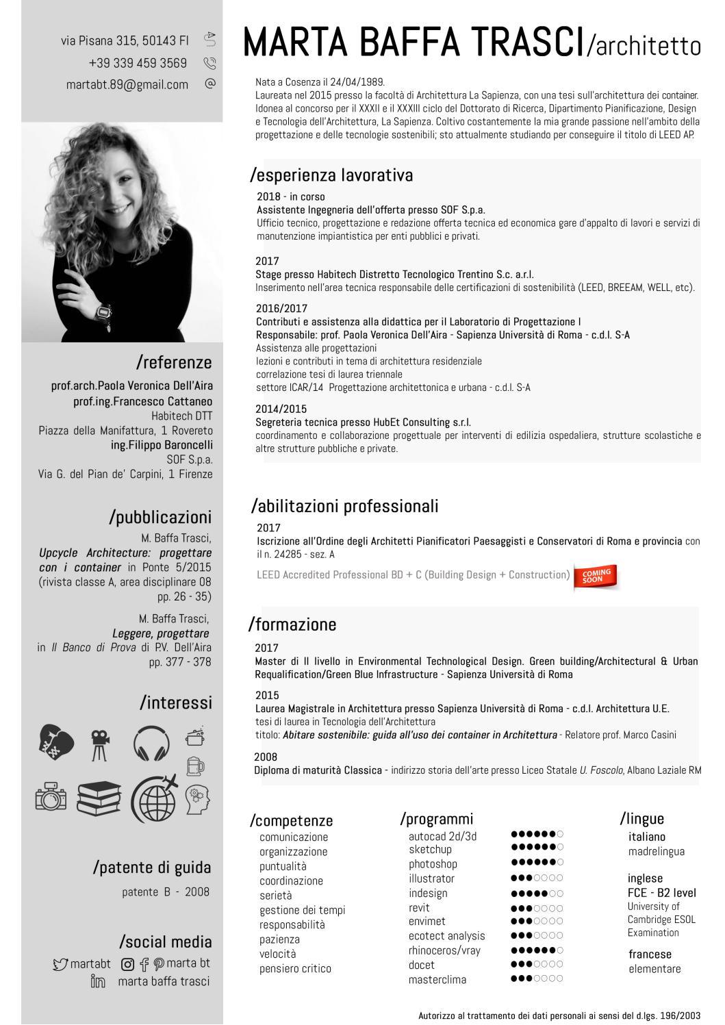 Architettura Sostenibile Architetti curriculum vitae marta baffa trasci - 2019 by