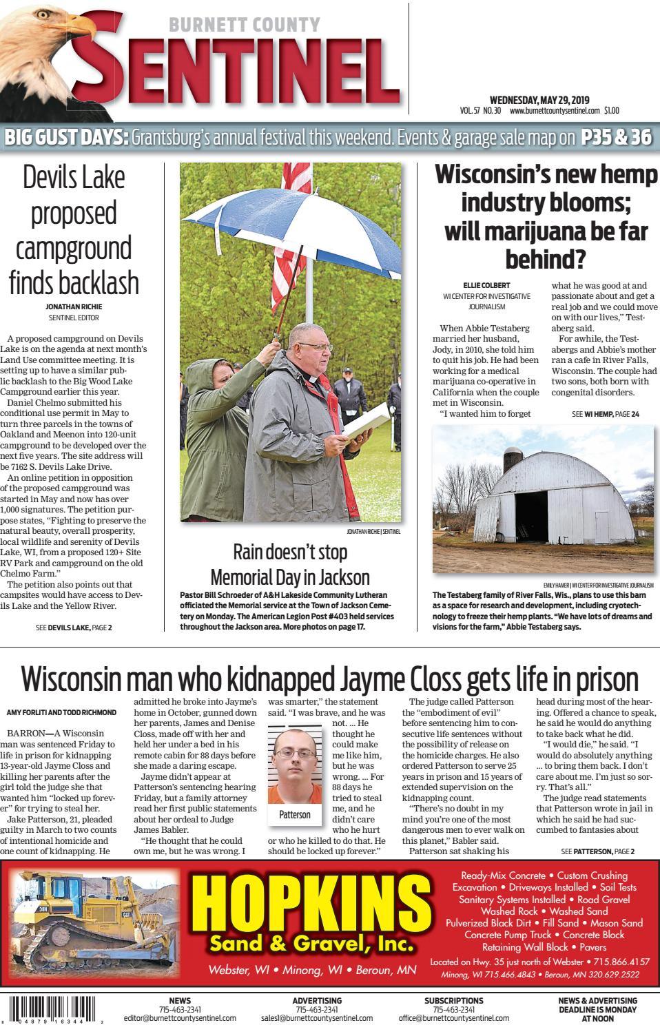 The Burnett County Sentinel 05-29-2019 by Burnett County Sentinel