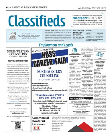 5/29/19 Classifieds by St  Albans Messenger - issuu