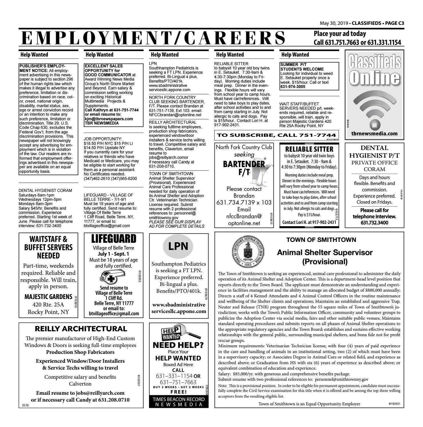 Employment/Careers - May 30, 2019 by TBR News Media - issuu