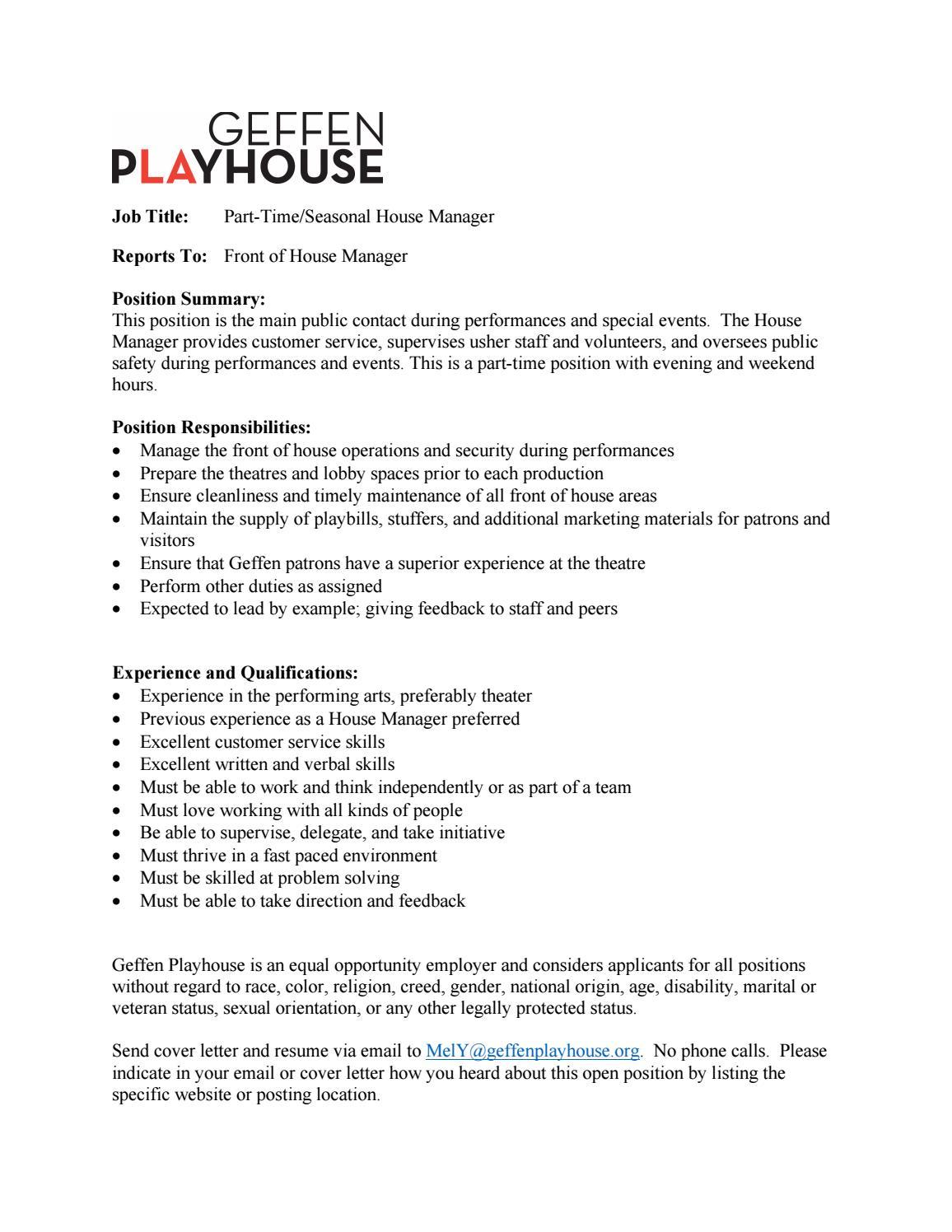 Parttimehousemanagerjobdescription 052419 by Geffen ...