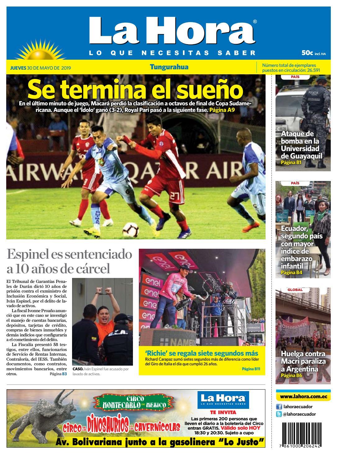 3d2b0cb86 TUNGURAHUA 30 DE MAYO DE 2019 by Diario La Hora Ecuador - issuu