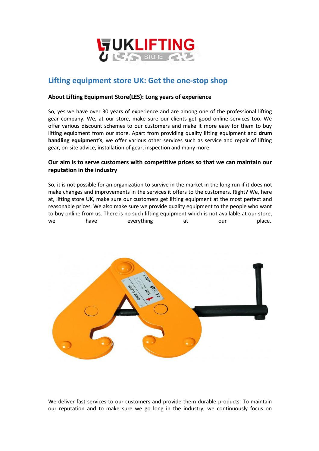 lifting equipment at the UK lifting help you play safely