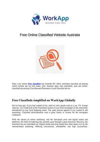 Free Online Classified Website Australia by WorkApp - issuu