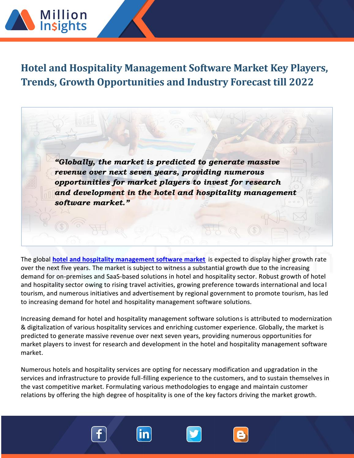 Hotel and Hospitality Management Software Market by Tom Clark - issuu