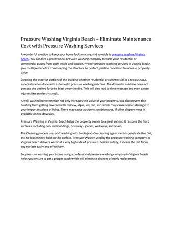 Pressure Washing Virginia Beach – Eliminate Maintenance Cost