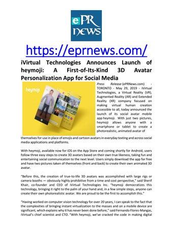 iVirtual Technologies Announces Launch of heymoji: A First