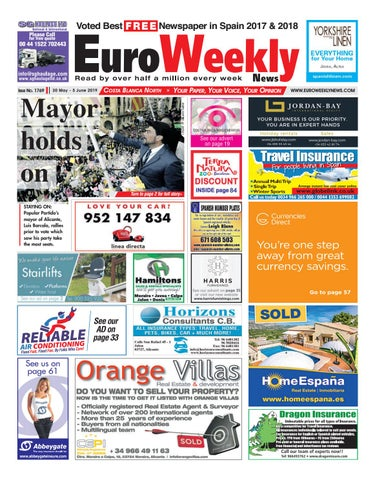 bbddcd31f4b Euro Weekly News - Costa Blanca North 30 May - 5 June 2019 Issue ...