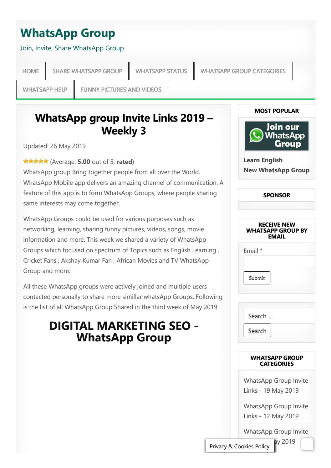 WhatsApp Group Invite LInks - May 2019 by whatsappgroups - issuu