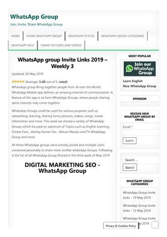 Whatsapp Group Invite Links May 2019 By Whatsappgroups Issuu