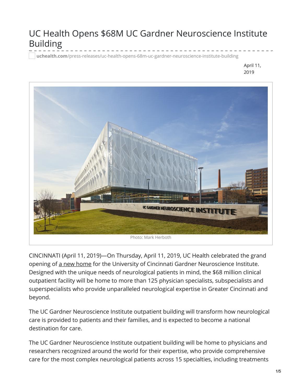 UC Health Gardner Neuroscience Institute Opens by