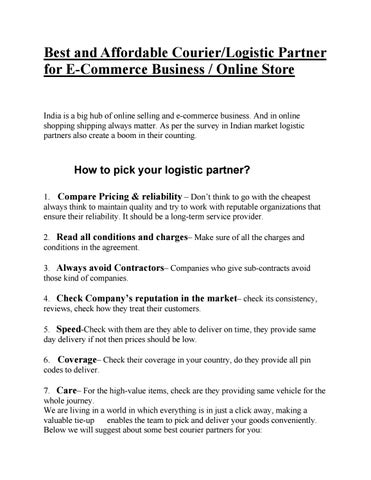 Best and Affordable Courier/Logistic Partner for E-Commerce