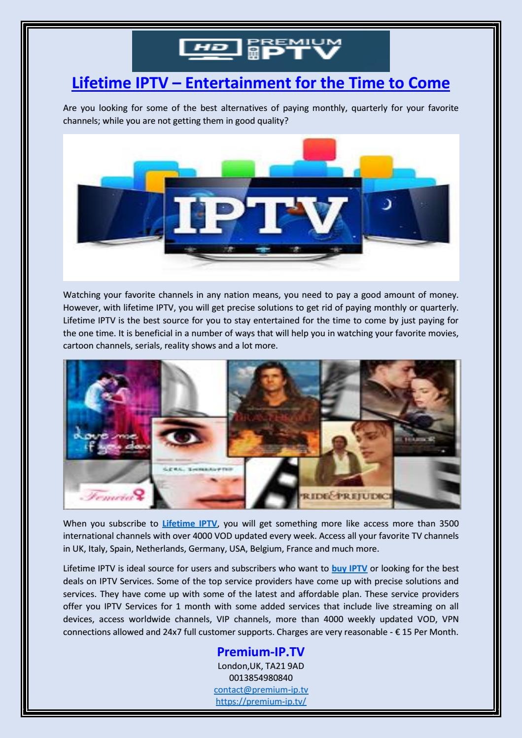 Lifetime IPTV – Entertainment for the Time to Come by Premium-IP TV